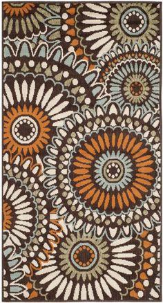 Safavieh VER091-725 Veranda Chocolate and Terracotta Indoor / Outdoor Power Loom