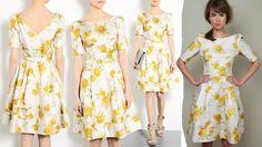 suzannah fifties oriental bloom yellow print dress