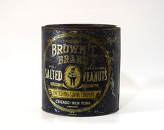 Antique Brownie Peanuts Tin, Advertising Tin