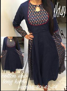 More upcycling inspiration. Churidar Neck Designs, Kurta Neck Design, Kurta Designs Women, Salwar Designs, Neck Designs For Suits, Dress Neck Designs, Blouse Designs, Salwar Pattern, Kurta Patterns