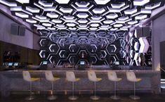 Saved by roxx twospirit (roxxtwospirit). Discover more of the best Hospitality, -, Eva, Designs, and Hexagons inspiration on Designspiration Cafe Bar, Restaurant Design, Restaurant Bar, Interior Inspiration, Design Inspiration, Design Ideas, Nightclub Design, Club Lighting, Lounge Design