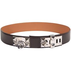3505d047693 Pre-owned HERMES Brown Collier de Chien CDC BELT Palladium Size 90 w .