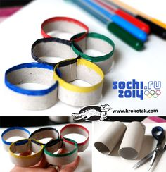 Olympic rings using toilet paper tubes. or you make it into a flower shape.