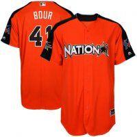 National League Marlins Justin Bour Majestic Orange 2017 MLB All