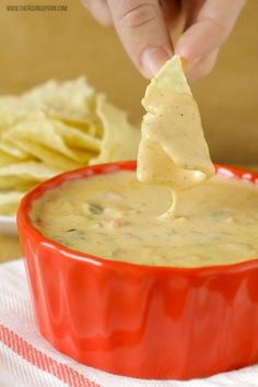 Homemade Queso Dip with Real Cheese! This easy recipe is made with three types of real cheese onion garlic peppers and spices in 30 minutes or less. Perfect for game day parties holiday gatherings or a relaxing night in! Dip Recipes, Mexican Food Recipes, Real Food Recipes, Cooking Recipes, Easy Recipes, Chutneys, Appetizer Dips, Appetizer Recipes, Queso Cheese