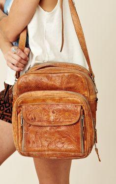 Treasure Blue Tooled Leather Bag