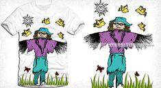 359946326 Cartoon Scarecrow with Birds Vector T-shirt Design | Vector T-shirt Designs  Shirt
