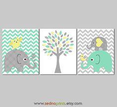Mint yellow and grey elephant Nursery Art Print Set , Baby Boy Room Decor,  kids wall art, baby elephant, tree, chevron - UNFRAMED