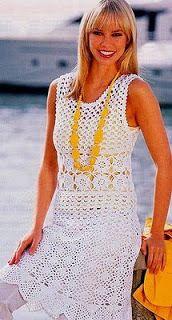 Graficos y Crochet: vestido blanco