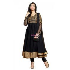 Black Net #Indian Anarkali Suits With Dupatta #Salwarkameez