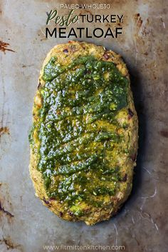 Whole30 & Paleo Pesto Turkey Meatloaf. Easy to throw together, and makes great leftovers!