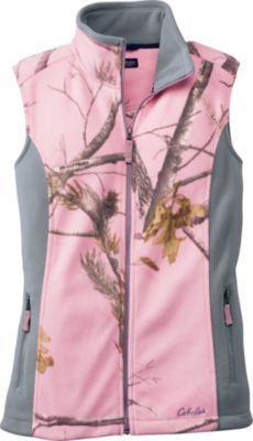 Cabela's Women's Doe Camp Fleece Vest Sizes: S-2XL. Camo pattern: Realtree AP™ (Pink).