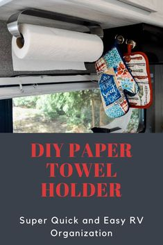 A quick, easy, no drill RV paper towel holder hack. Toilet Paper Art, Toilet Paper Roll Holder, Paper Towel Holder, Camper Hacks, Rv Hacks, Rv Storage Solutions, Cardboard Fireplace, Easy Fall Crafts, Diy Rv