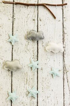 Simple Modern Baby Mobile Clouds and Stars by bluewithoutyoukids