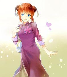 Rnia, Gin Tama, Kagura (Gin Tama), Purple Outfit, Purple Dress, Chinese Clothes