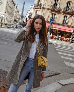 These Parisian streets though TravelOutfit WeekendLook WearToWork ShopStyle shopthelook MyShopStyle OOTD SpringStyle paris parisfashionweek plaidcoat yellow kooples thekooples emilybag 544583779936742489 Paris Outfits, Mode Outfits, Winter Outfits, Casual Outfits, Fashion Outfits, Jeans Fashion, Summer Outfits, Fashion Mode, Look Fashion