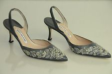 New MANOLO BLAHNIK Carolyne Grey Silver Beaded Jeweled Slingback Heel SHOES