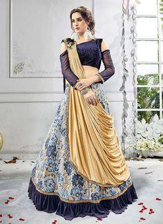 Designer Indo western Bridal Party wear Fashionabl Lehenga Choli with Dupatta Designer Bridal Lehenga, Bridal Lehenga Choli, Ghagra Choli, Lehenga Blouse, Choli Dress, Lehenga Choli Designs, Indian Lehenga, Blue Lehenga, Net Lehenga