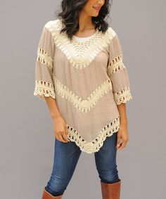 Journey Five SALE! Tan Crochet Scoop Neck Tunic
