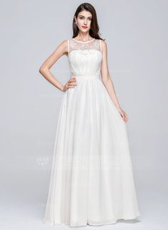 A-Line/Princess Scoop Neck Floor-Length Chiffon Prom Dress With Ruffle Beading Appliques Lace Sequins (018070374) - JJsHouse
