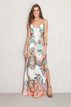 vestido longo estampado tropical   Dress to