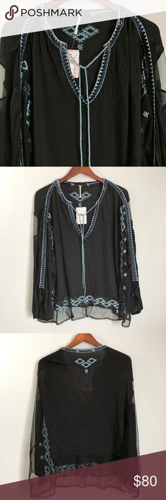 Free People Eden Top Free People Eden Top - Women's Clothing : Black : Airy mesh give a carefree vibe to this lightweight top. Embroidery at the sleeves and hemline. V-neckline with tassel detail. Flowing long sleeves. Straight hemline. 100% viscose. Machine wash and tumble dry. Imported. Measurements: Length: 28 in. Last photo to show fit. Free People Tops Blouses