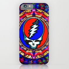 Grateful Dead 'Steal Your Face' Colorful Mandala Psychedelic Skeleton Tapestry iPhone & iPod Case