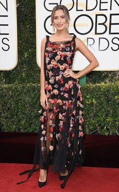 Renee Bargh from 2017 Golden Globes Red Carpet Arrivals  In Rachel Gilbert
