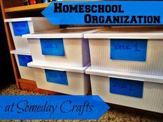 Homeschool Organization at Someday Crafts | #homeschool #organization #backtoschool