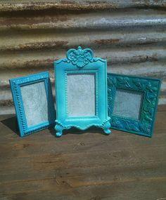 set of 3 easel back turquoise aqua teal frames metal frame stone frame ceramic frame