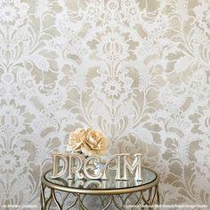 Elegant Vintage Wallpaper Large Damask Wall Stencils Nursery Decor - Royal Design Studio