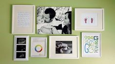 Originally pinned as a nursery decoration. I had a similar idea to do this for the kids' room with photos of them at different stages.