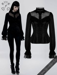 Gothic Jewelry Gothic Lily shirt - Victorian Gothic Lolita Doll style, high neck, laced at the back, black chiffon fabric fitted shirt with layered wide cuff bell style sleeves Estilo Dark, Fashion Outfits, Womens Fashion, Fashion Tips, Fashion Ideas, Fashion Clothes, Fashion Accessories, Gothic Mode, Grunge Goth