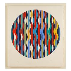 'Waves' a 1970's Op Art Silkscreen by Yaacov Agam (b1928), an Israeli sculptor and experimental artist best known for his contributions to optical and kinetic art.