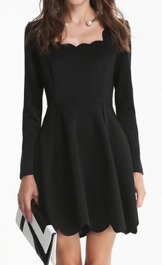 Black Long Sleeve Backless Scalloped Dress