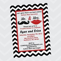 Mustache and Lips Mr and Mrs Bridal Wedding Shower Invitation - Printable or Printed #mustachelips #couplesshower #invitation