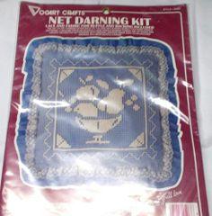 Net Darning Kit Vogart Fruit bowl lace fabric Factory sealed style 2526C vintage