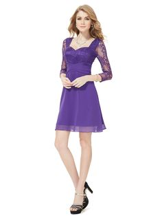 Purple satin party dress with 3/4 sleeves and stunning lace sleeves and top design