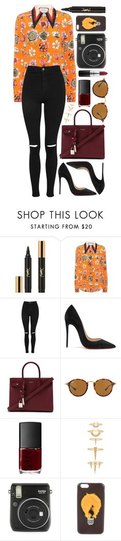 """""""Untitled #890"""" by clary94 ❤ liked on Polyvore featuring Yves Saint Laurent, Gucci, Topshop, Christian Louboutin, Ray-Ban, NARS Cosmetics, Luv Aj, Fuji and Fendi"""