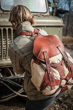 leather and canvas rucksack for travellers