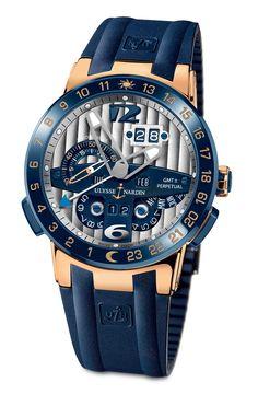 Ulysse Nardin El Toro Collection Blue Ceramic Bezel Polished Solid Rose Gold  Blue Alligator Pattern Leather Strap GMT Perpetual Calendar Transparent  Back ... 3c00b4b4d6f
