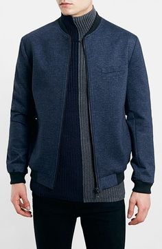 $120, Navy Bomber Jacket: Topman Tailored Jersey Bomber Jacket. Sold by Nordstrom. Click for more info: https://lookastic.com/men/shop_items/126758/redirect