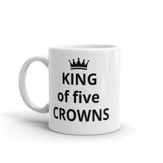 Whether youre drinking your morning coffee, evening tea, or something in between – this mugs for you! Its sturdy and glossy with a vivid print thatll withstand the microwave and dishwasher. King of five CROWNS. Makes a great gift, card players. • Ceramic • Dishwasher and microwave safe • White and Home Business Opportunities, Novelty Gifts, Morning Coffee, Crowns, Squad, Microwave, Pepper, Drinking, Dishwasher