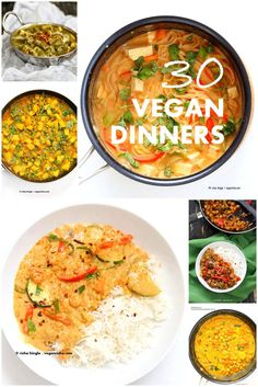 Easy Weeknight Vegan Dinner Recipes for quick and flavorful meals. 1 pot Peanut Sauce noodles, Pb Lentils, Bombay Potatoes. Gluten-free and Soy-free Options