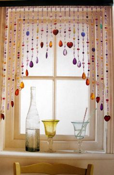 If you like to add creative and original decoration in your interior, beaded curtains are the right solution for you. Beaded curtains can be made from Décor Boho, Bohemian Decor, Bohemian Style, Bohemian Curtains, Boho Chic, Diy Curtains, Hippie House Decor, White Curtains, Colorful Curtains