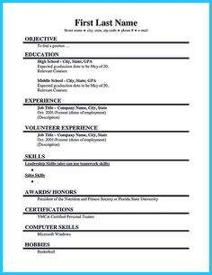 26 Best Highschool Resumes Images High School Resume Job Resume