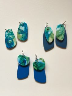 Polymer clay and alcohol ink earrings by Jenn Hoy.