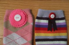 How to Embellish Kneesocks: Two of my favorite kneesocks embellished with button rosettes.