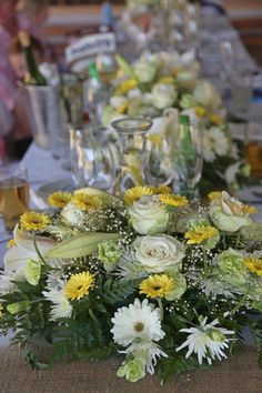 Yellow, white and baby's breath for your wedding Baby's Breath, Table Decorations, Weddings, Yellow, Home Decor, Decoration Home, Room Decor, Wedding, Home Interior Design