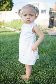 Confetti Dot Dress, Organic Dress, Tank Dress, Peter Pan Collar Dress, Baby Dress, Toddler Dress, Kids Dress